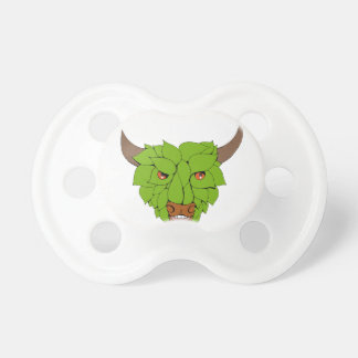 Green Bull Head Drawing Pacifier