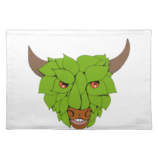 Green Bull Head Drawing Placemat