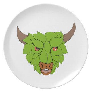 Green Bull Head Drawing Plate