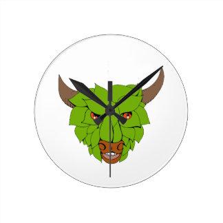 Green Bull Head Drawing Round Clock