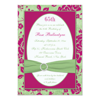 Green Burgundy Ivory Floral 65th Birthday Invite
