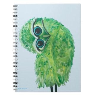 Green Burrowing Owl Coastal Art Notebooks