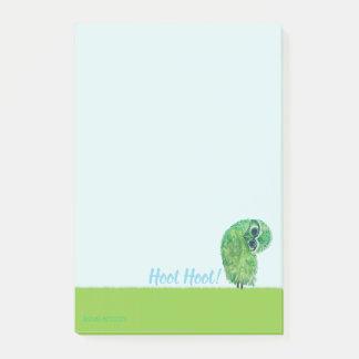 Green Burrowing Owl Coastal Art Post-it Notes