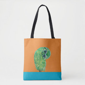 Green Burrowing Owl Coastal Art Tote Bag