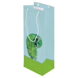Green Burrowing Owl Coastal Art Wine Gift Bag