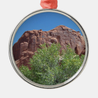 Green Bush and Red Rock Silver-Colored Round Ornament