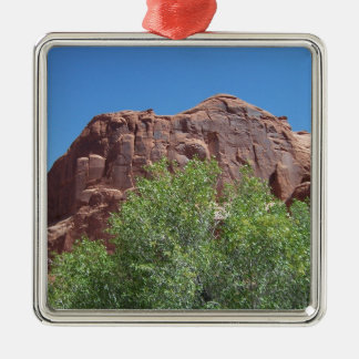 Green Bush and Red Rock Silver-Colored Square Ornament