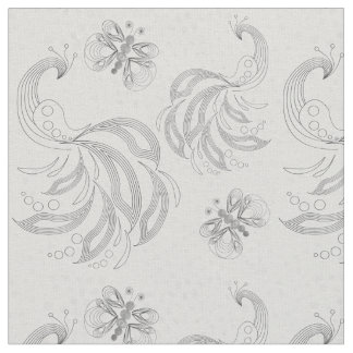 Green butterflies and peacock pattern fabric