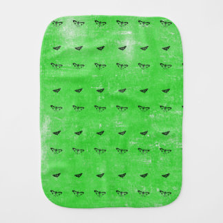 Green butterflies burp cloth