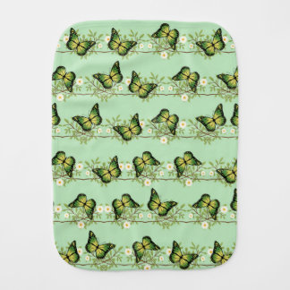 Green butterflies pattern burp cloth