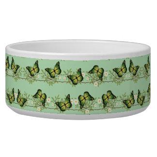 Green butterflies pattern dog water bowls