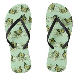 Green butterflies pattern flip flops
