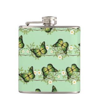 Green butterflies pattern hip flask