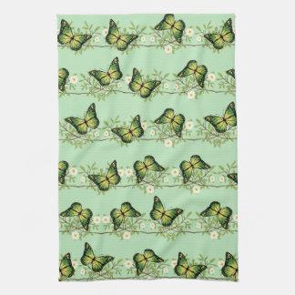 Green butterflies pattern kitchen towel