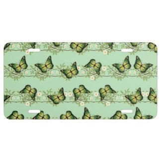 Green butterflies pattern license plate