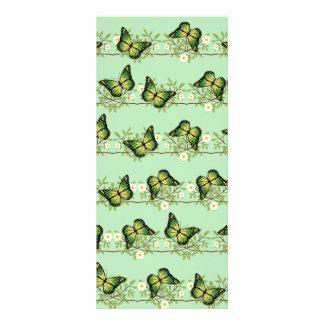 Green butterflies pattern rack card