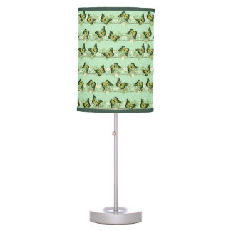 Green butterflies pattern table lamp