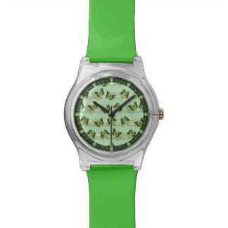 Green butterflies pattern watch