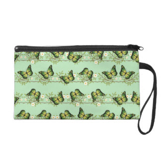 Green butterflies pattern wristlet clutches