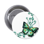 green butterfly 2 inch round button
