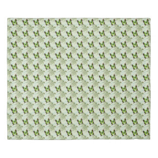 Green Butterfly and Palm Frond Duvet Cover