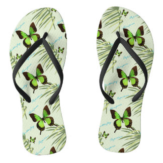 Green Butterfly and Palm Fronds Flip Flops