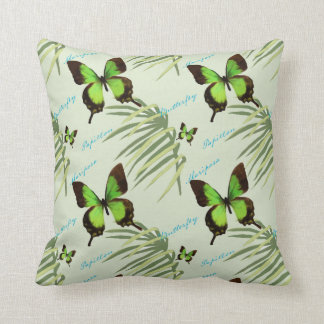 Green Butterfly and Palm Fronds Throw Pillow