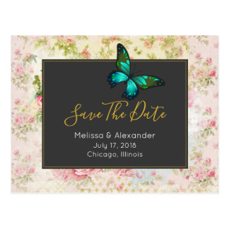 Green Butterfly Chic Vintage Style Save The Date Postcard