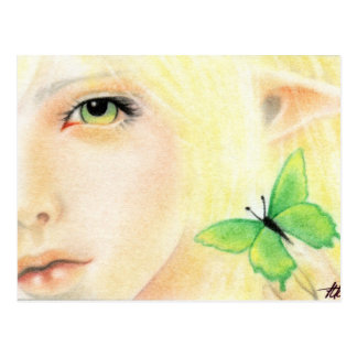 Green Butterfly Fairy Postcard