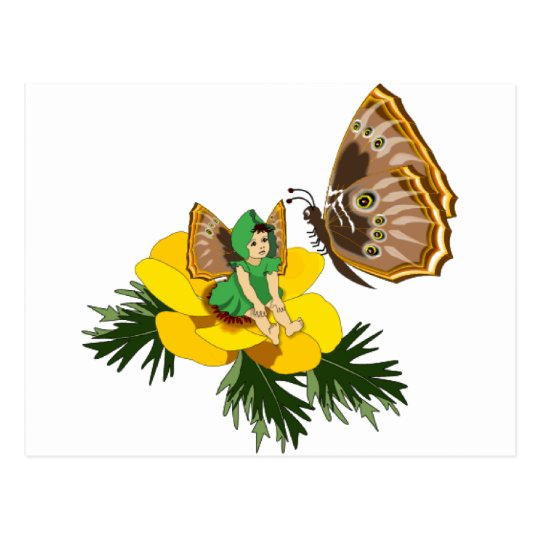 Green Butterfly Fairy Postcard