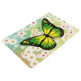 Green butterfly floor mat