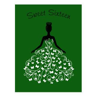 Green Butterfly Gown Sweet Sixteen Invitation Postcard