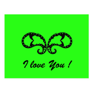 Green Butterfly, I love You ! Postcard