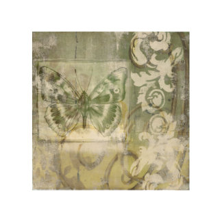 Green Butterfly Inset with Ironwork Gate Wood Wall Decor