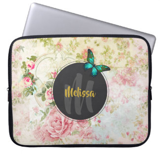 Green Butterfly on Chic Vintage Collage Monogram Laptop Sleeve
