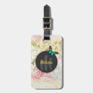 Green Butterfly on Chic Vintage Collage Monogram Luggage Tag