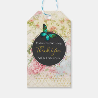 Green Butterfly on Chic Vintage Collage Thank You Gift Tags