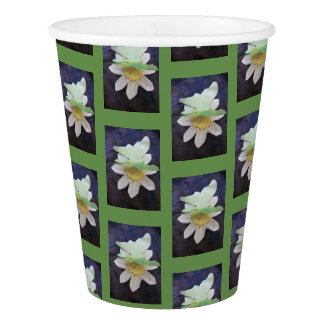 green butterfly on daisy paper cup