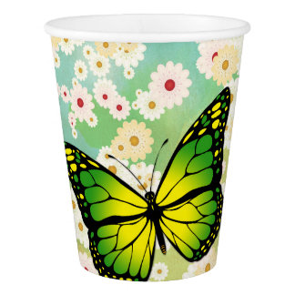 Green butterfly paper cup