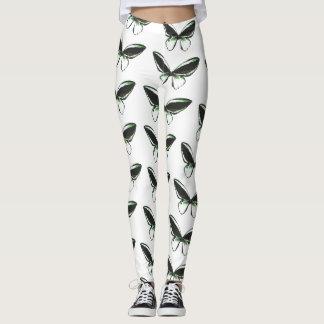 Green Butterfly Pattern Women's Leggings