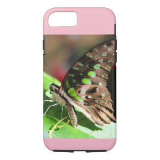 Green Butterfly phone case with pink accent