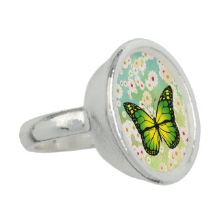 Green butterfly photo rings