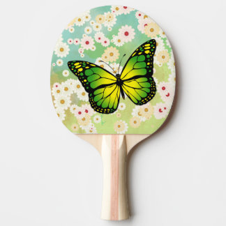 Green butterfly ping pong paddle