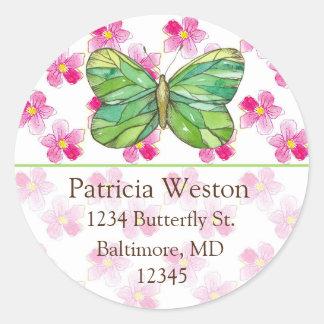 Green Butterfly Pink Flower Return Address Classic Round Sticker