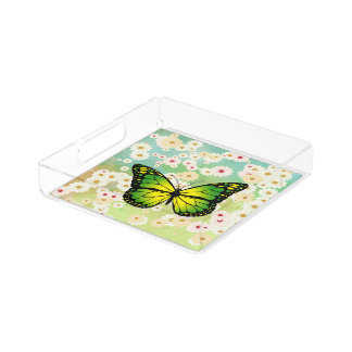 Green butterfly serving tray