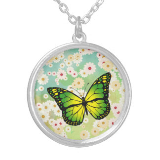 Green butterfly silver plated necklace