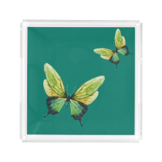 Green Butterfly Square Tray