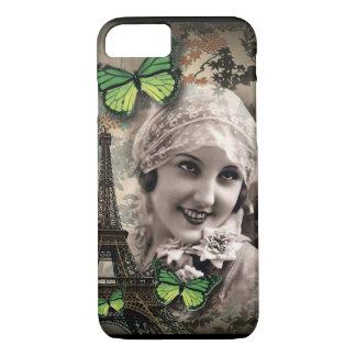 Green Butterfly Vintage Girl Paris Eiffel Tower iPhone 8/7 Case