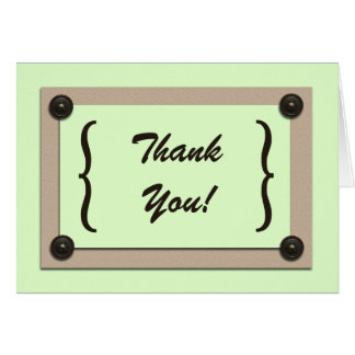 Green Buttons & Brackets Thank You Card