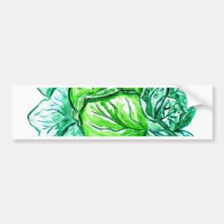 Green Cabbage Watercolor 2 Bumper Sticker